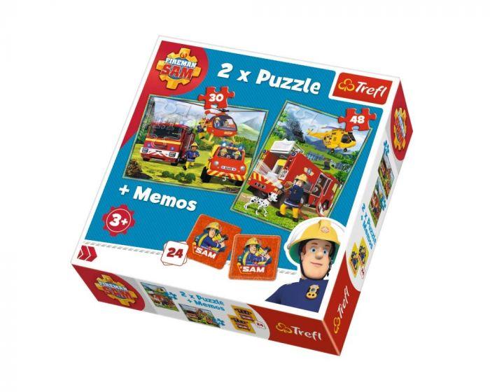 Puzzle 2 in 1 Memo Pompierii in actiune Trefl, 3 ani+