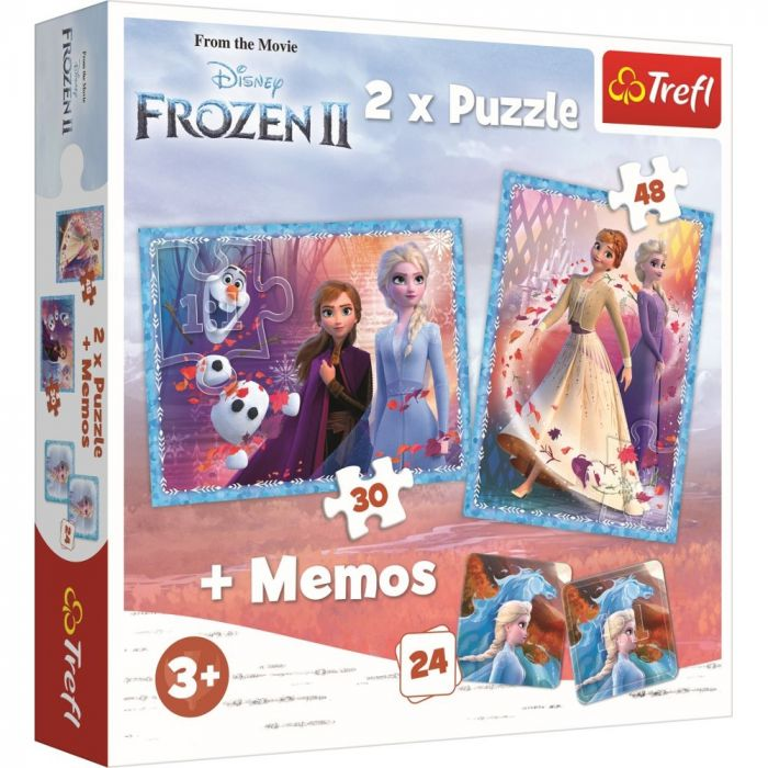 Puzzle 2 in 1 Memo Tinutul misterios Frozen 2 Trefl, 3 ani+