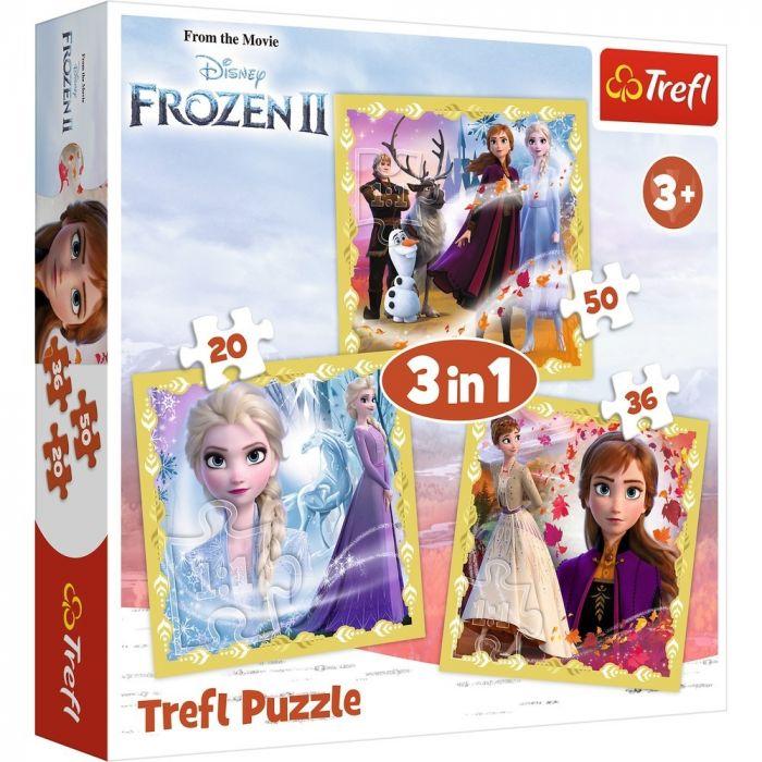 Puzzle 3 in 1 Ana si Elsa Frozen 2 Trefl, 106 piese, 3 ani+