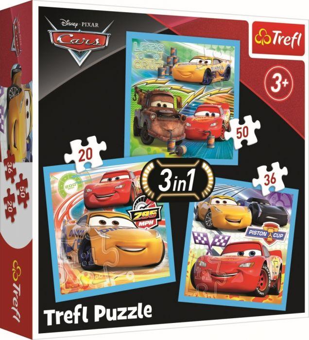 Puzzle 3 in 1 Cars pregatiri pentru cursa Trefl, 106 piese, 3 ani+
