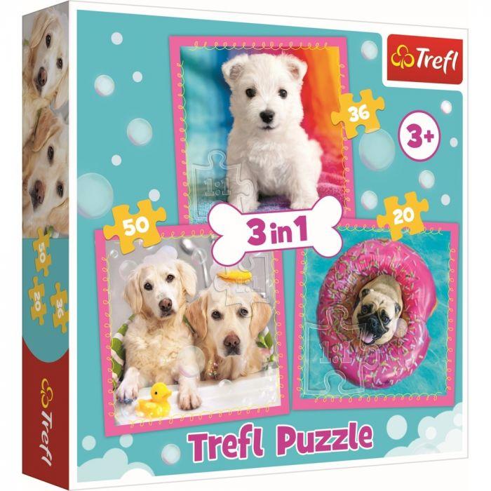 Puzzle 3 in 1 Catelusi Trefl, 106 piese, 3 ani+