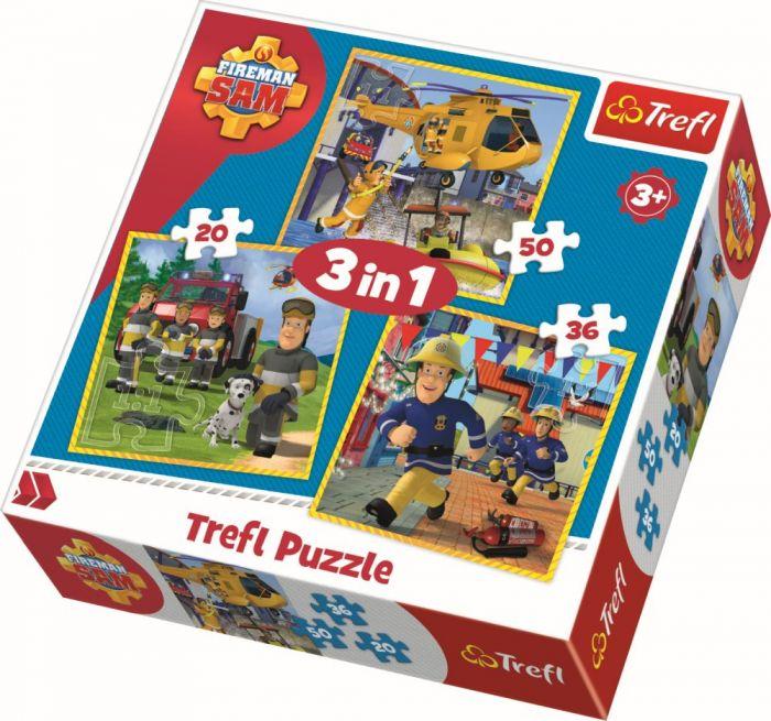 Puzzle 3 in 1 Pompierul Sam Trefl, 106 piese, 3 ani+