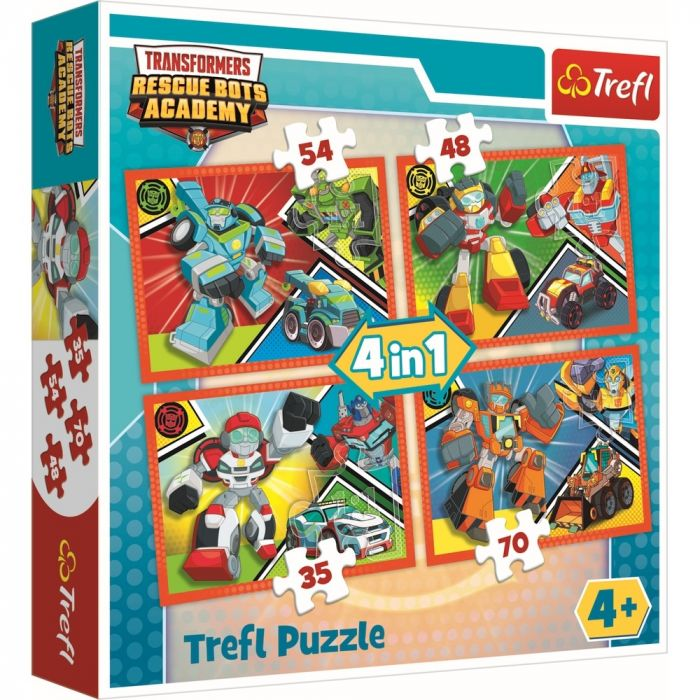 Puzzle 4 in 1 Academia Tansformers Trefl, 207 piese, 4 ani+