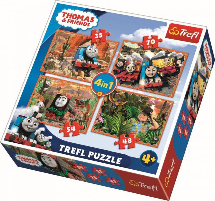 Puzzle 4 in 1 Calatori in jurul lumii Trefl, 207 piese, 4 ani+