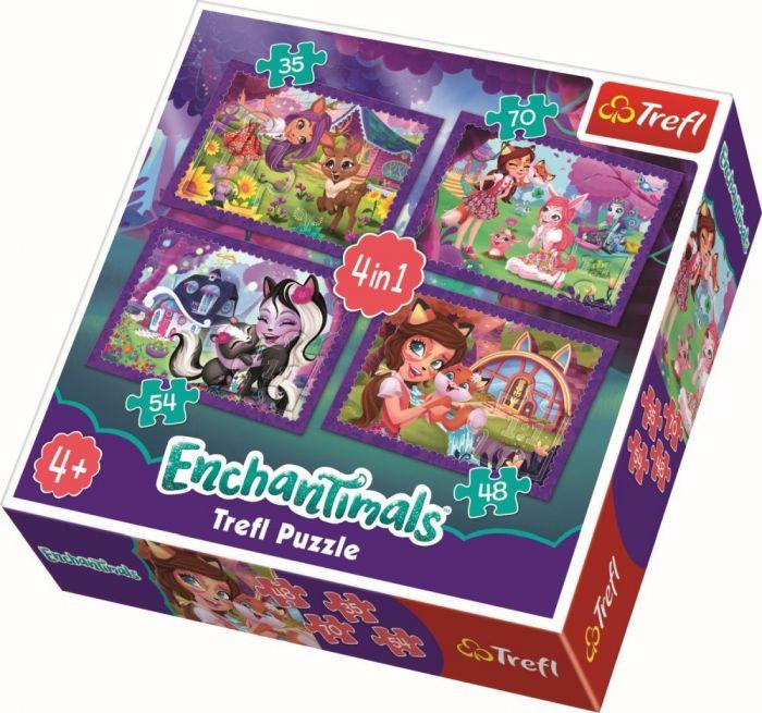 Puzzle 4 in 1 Enchantimals distractie in padure Trefl, 207 piese, 4 ani+