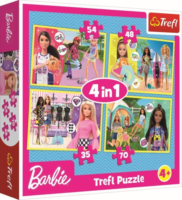 Puzzle 4 in 1 Lumea lui Barbie Trefl, 207 piese, 4 ani+