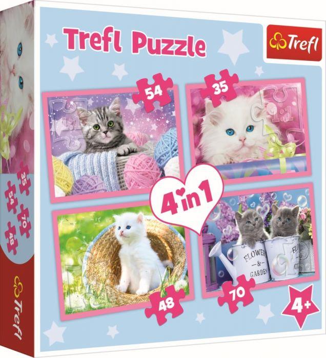 Puzzle 4 in 1 Pisicile se distreaza Trefl, 207 piese, 4 ani+