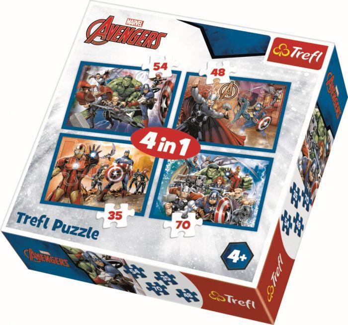 Puzzle 4 in 1 Razbunatorii neinfricati Trefl, 207 piese, 4 ani+