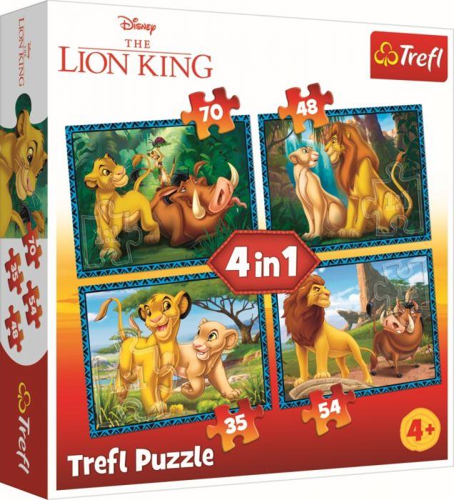 Puzzle 4 in 1 Regele Leu si prietenii Trefl, 207 piese, 4 ani+