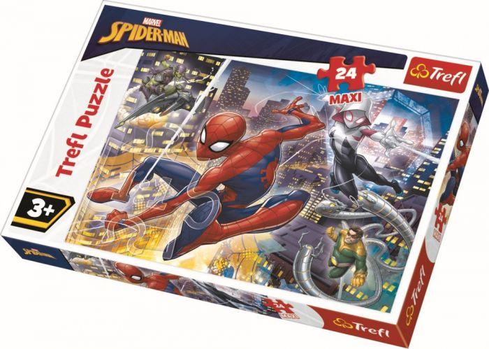 Puzzle maxi Curajosul Spiderman Trefl, 24 piese, 3 ani+
