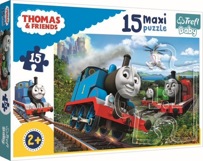 Puzzle maxi Locomotive in viteza Trefl, 15 piese, 2 ani+