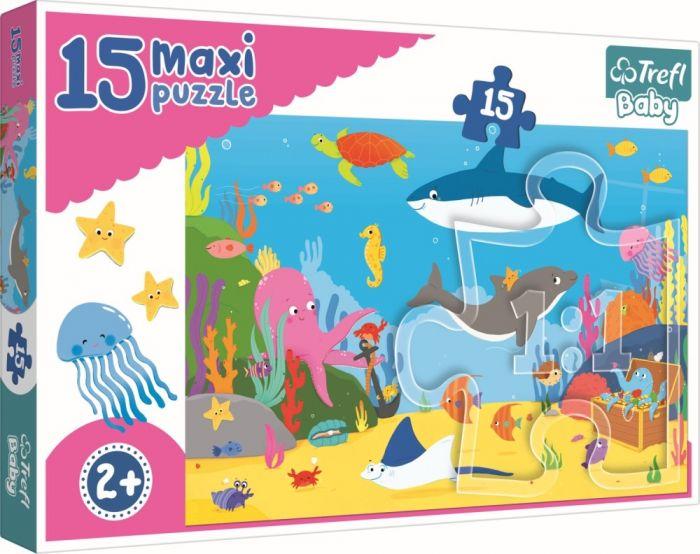 Puzzle maxi Lumea acvatica Trefl, 15 piese, 2 ani+