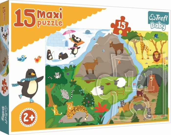 Puzzle maxi Lumea animalelor Trefl, 15 piese, 2 ani+