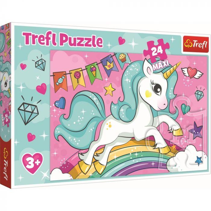 Puzzle Maxi Unicornul curcubeu Trefl, 24 piese, 3 ani+