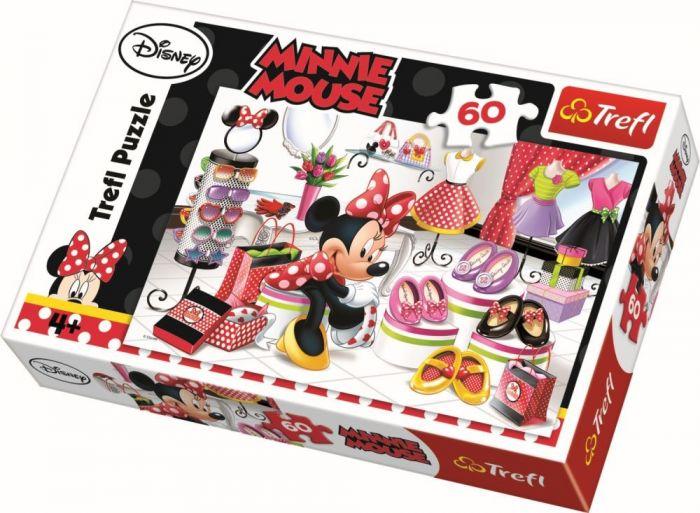 Puzzle Minnie la shopping Trefl, 60 piese, 4 ani+