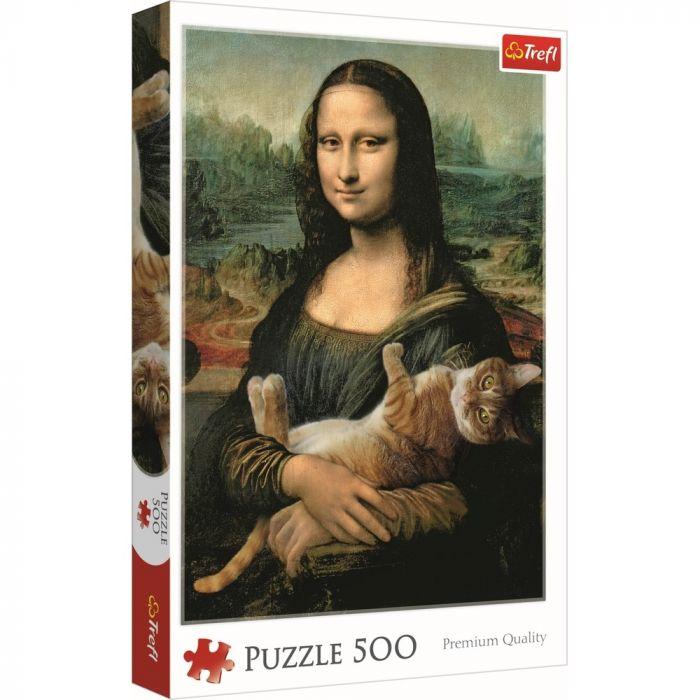 Puzzle Monalisa cu pisica Trefl, 500 piese, 10 ani+