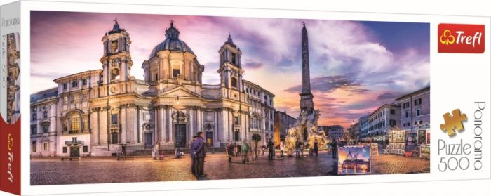 Puzzle Panorama Piata Navona din Roma Trefl, 500 piese, 12 ani+