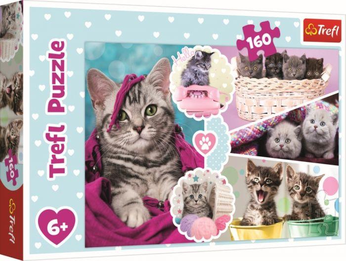 Puzzle Pisici dragalase Trefl, 160 piese, 6 ani+