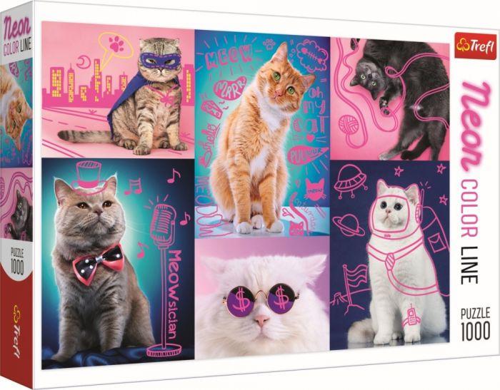 Puzzle Super pisici neon Trefl, 1000 piese, 12 ani+