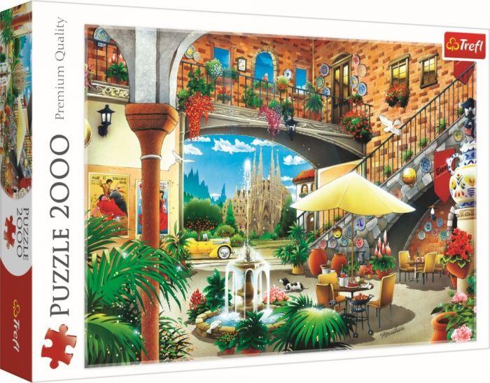 Puzzle Vedere din Barcelona Trefl, 2000 piese, 15 ani+