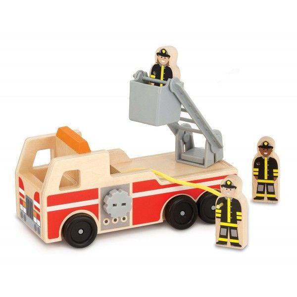 Masinuta de pompieri Melissa & Doug, din lemn, 3 ani+