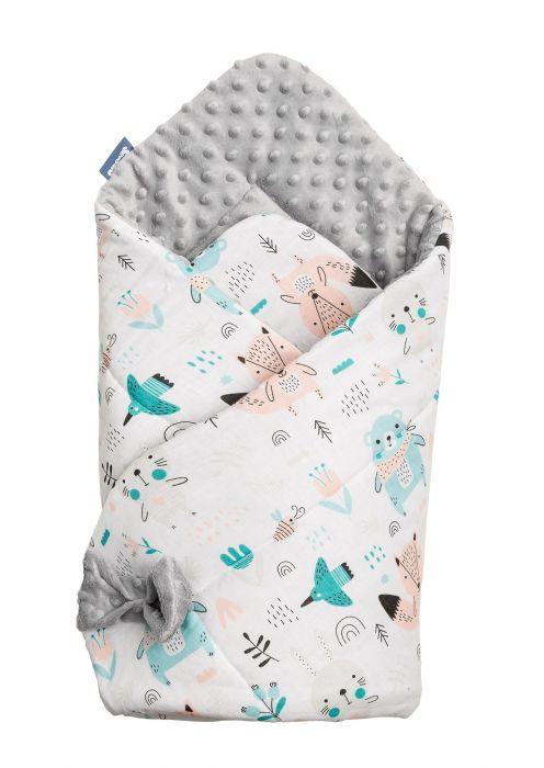 Paturica nou-nascut Sensillo Minky Wrap Animals Light Grey, 80x80 cm