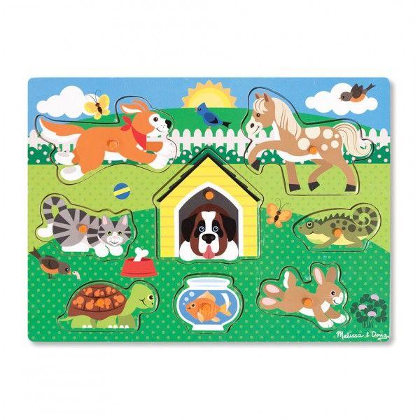 Puzzle Animalele de companie Melissa & Doug, din lemn, 3 ani+