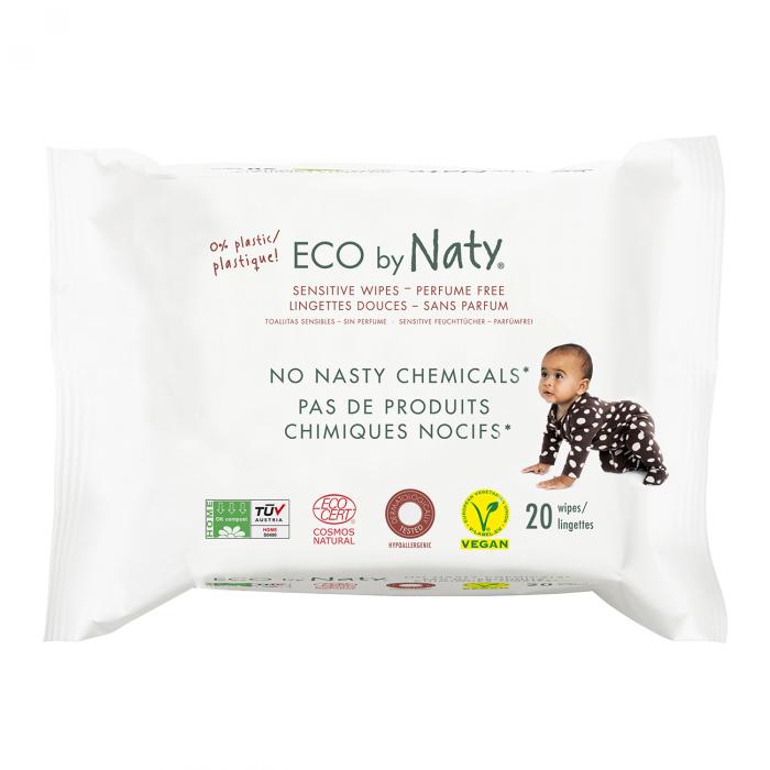 Servetele umede Sensitive ECO by Naty, pentru calatorie, fara parfum, 20 buc