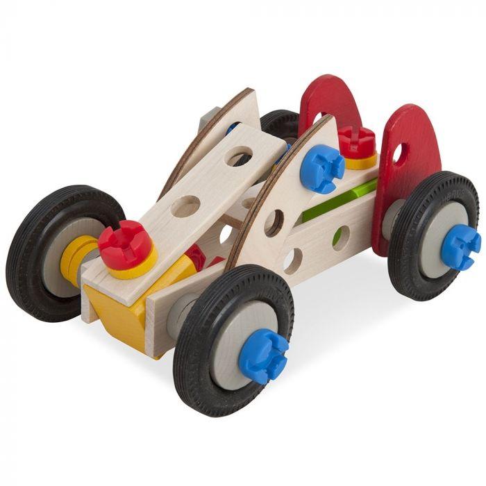 Set constructie Constructor Racer Eichhorn, din lemn, 50 piese, 3 ani+