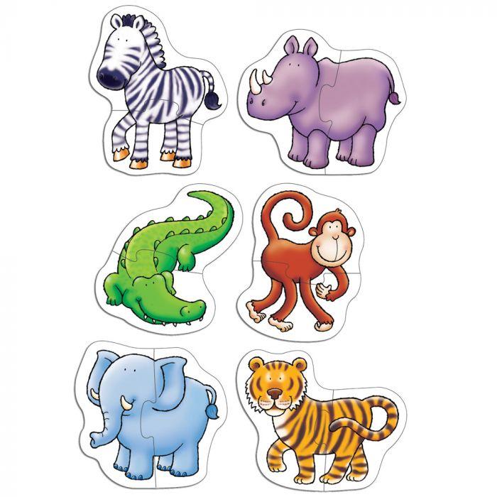 set puzzle animale doua piese jungla elefant rinocer crocodil maimutica zebra leu