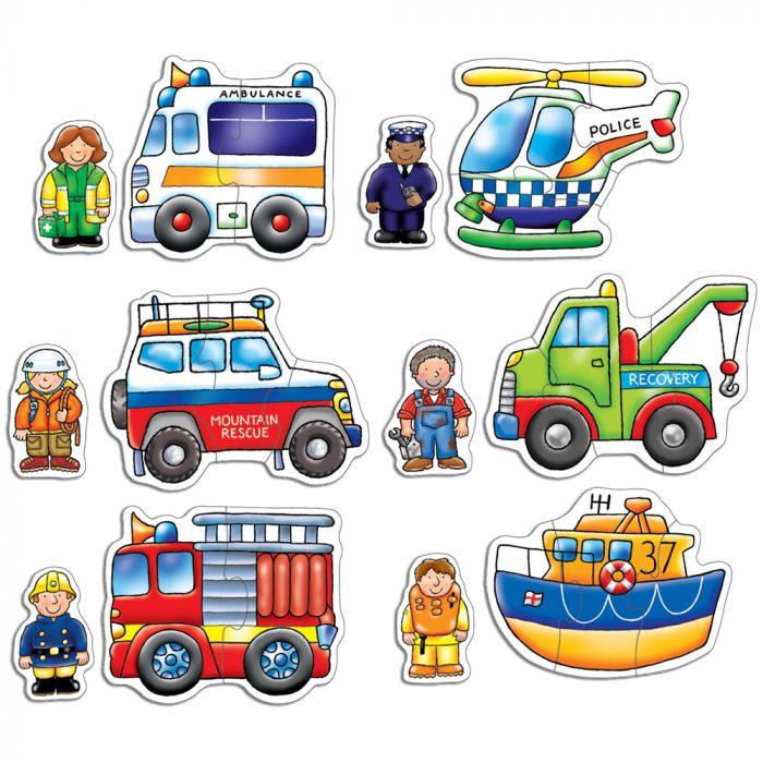 set puzzle educativ pompieri ambulanta politie echipaj salvare