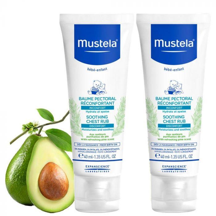 Pachet Balsam reconfortant Mustela, pentru masaj pectoral, 40 ml 1+1 Gratis