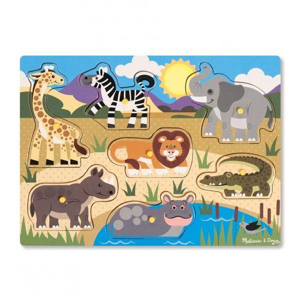 Puzzle Animalele safari Melissa & Doug, din lemn, 24 luni+