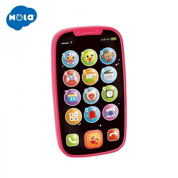 Primul meu Telefon Smart Hola, cu muzica si lumini, 5 luni+, Rosu